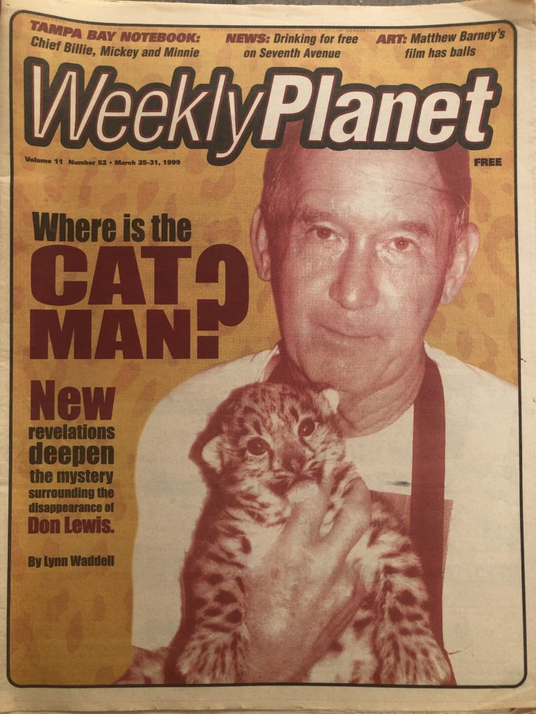 March 25-31, 1999 Weekly Planet Don Lewis Cat Man Missing